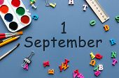 1st September. Image Of September 1, Calendar On Blue Background With Office Supplies. Back To Schoo poster