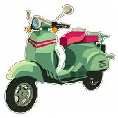 Retro scooter isolated on white. Vector illustration.