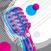Designed banner with microphone and retro graphic elements. Vector illustration.
