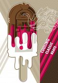 Jukebox ice cream designed artistic banner. Vector illustration.