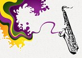Designed stylized banner with saxophone. Vector illustration.