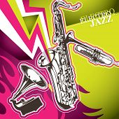 Designed modern jazz artistic banner. Vector illustration.