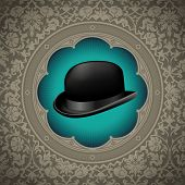 Vintage floral background with bowler hat. Vector illustration.