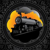 Vintage background with old locomotive. Vector illustration.