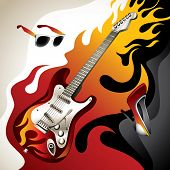Conceptual background with electric guitar. Vector illustration.