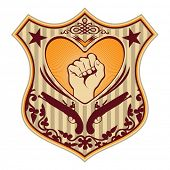 Illustrated crest with heart and fist. Vector illustration,.