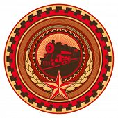 Illustrated retro communistic emblem with decoration. Vector illustration.