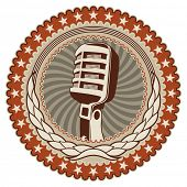 Illustrated vintage badge with old microphone. Vector illustration.