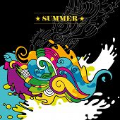Illustrated abstract summer background in color. Vector illustration.