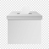 White Election Box Mockup. Realistic Illustration Of White Election Box Mockup For On Transparent Ba poster