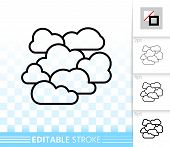 Overcast Thin Line Icon. Outline Web Sign Of Cloudy. Cloudiness Linear Pictogram With Different Stro poster