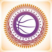 Illustrated modish basketball emblem. Vector illustration.