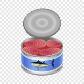 Tuna Canned Goods Mockup. Realistic Illustration Of Tuna Canned Goods Mockup For On Transparent Back poster