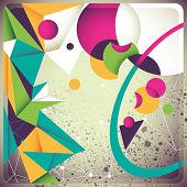 Vintage background with futuristic abstraction. Vector illustration.
