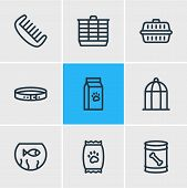 Vector Illustration Of 9 Pet Icons Line Style. Editable Set Of Hamster Cage, Dog Food, Kibble And Ot poster