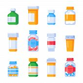 Flat Medicine Bottles. Vitamin Bottle With Prescription Label, Drug Pills Container Or Vitamins And  poster