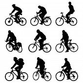 image of siluet  - Silhouette bicycles - JPG