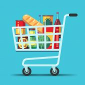 Full Supermarket Shopping Cart. Shop Trolley With Food. Grocery Store Vector Icon. Illustration Of T poster