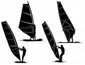 Isolated of windsurfers silhouette illustration.