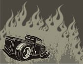 Rat rod on a background with flames. Vector illustration.