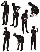 stock photo of diarrhea  - Set of illness people silhouette with pain dots - JPG