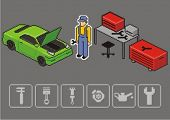 Auto mechanic repair a car. Vector isometric illustration.