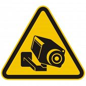 stock photo of warning-signs  - Surveillance camera warning sign - JPG