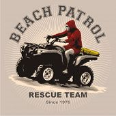 Beach patrol on atv print and application