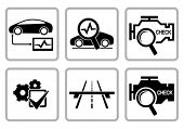 Automotive diagnostic repair icons set. All white areas are cut away from icons and black areas merg
