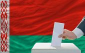 Man Voting On Elections In Belarus