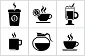 stock photo of latte coffee  - Vector black coffee icons set - JPG