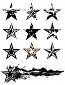 Estrellas de Vector grunge set.