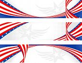 picture of usa flag  - set of horizontal american theme banners - JPG
