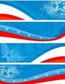 American theme horizontal banners set