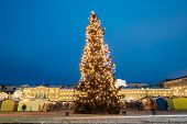 Helsinki, Finland. Evening View Of Christmas Tree On Senate Square In Evening Night Christmas Xmas F poster