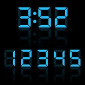 Blue Clock Digits