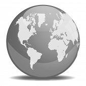 Orbe da terra em escala de cinza
