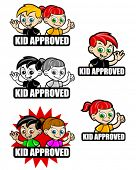 Kid Approved Icon / Seal / Mark, version boy and girl