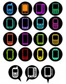 Smartphones Icons in vivid colors