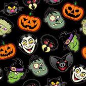 Halloween personagens vetoriais padrão em fundo preto