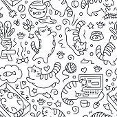 Seamless Pattern With Cute Cats Line Drawing. Playful Kitten Background, Cat Sleeping In Box, Play W poster