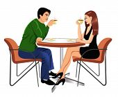 picture of young adult  - man and woman drinking coffee - JPG