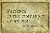 Patience Is The Companion Of Wisdom - Quote Of Ancient Christian Theologian And Philosopher Saint Au poster