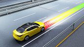 Modern Concept Of A Safe Car Collision Avoidance System 3d Render Image poster