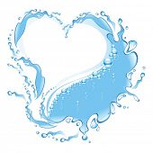 Water frame in the form of heart . (vector illustration)