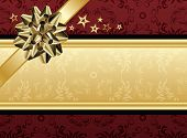 A red and golden present design for text