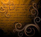 Fundo vintage com texto manuscrito e pergaminhos