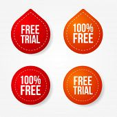 Free trial badges and stickers
