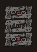 Conceptual Poster Or T Shirt Design With Gun Weapon Graphic. Decorative Wall Image Template. Hand Gu poster