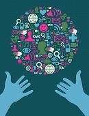 Social Media Icons Set In Globe Shape